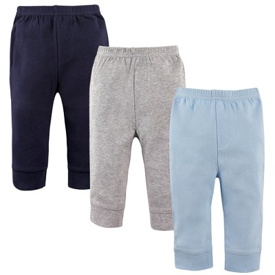 Luvable Friends Baby and Toddler Boy Cotton Pants 3pk, Blue Gray