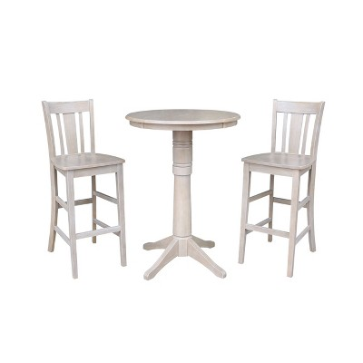 """3pc 30""""x30"""" Solid Wood Round Pedestal Bar Height Table and 2 San Remo Dining Sets Washed Gray Taupe - International Concepts"""