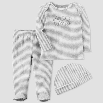 Baby 3pc Set - little planet™ organic by carter's® Gray Stripe 3M