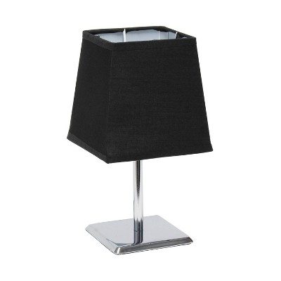 Mini Table Lamp with Squared Empire Fabric Shade Black - Simple Designs