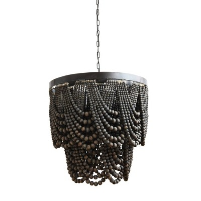 Chandelier with Wood Beads Black Metal Black - 3R Studios