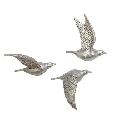 Set of 3 Metallic Flying Bird Sculptures Wall Decor - Olivia & May