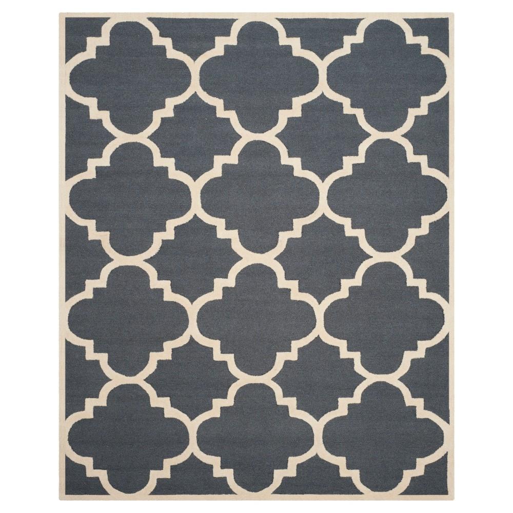 Landon Texture Wool Rug Dark Gray/Ivory