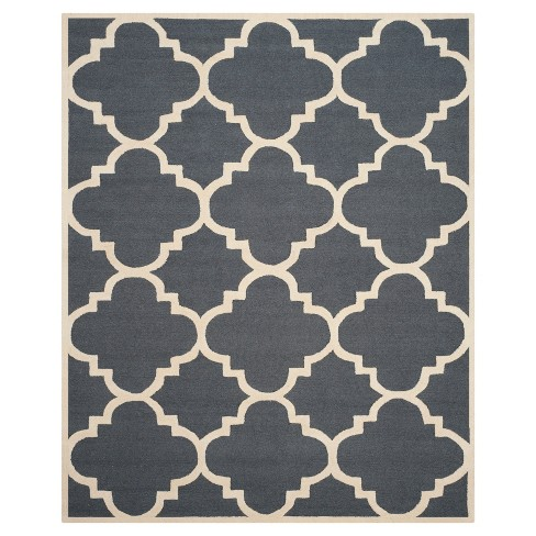 Landon Texture Wool Rug Dark Gray Ivory 10 X 14 Safavieh