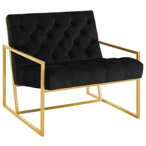 Bequest Gold Stainless Steel Upholstered Velvet Accent Chair - Modway - image 1 of 4