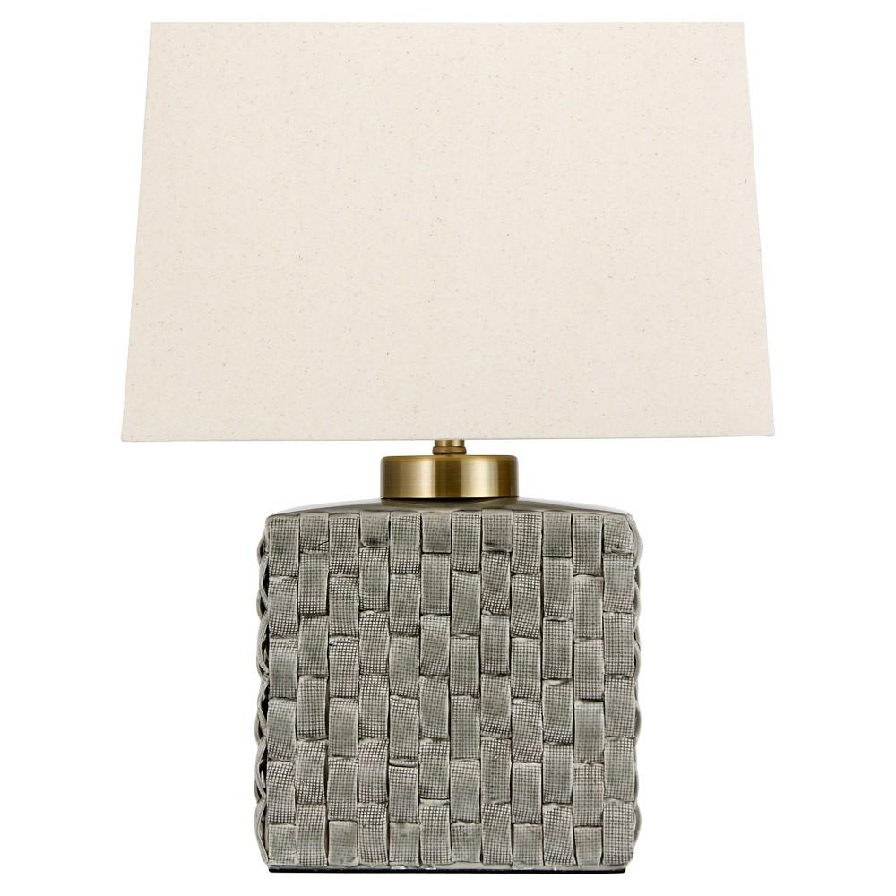 Image of Basket Weave Gray Porcelain Jar Lamp - Gray (23)