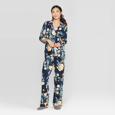 Women's Floral Beautifully Soft Notch Collar Pant Pajama Set - Stars Above™ Navy M