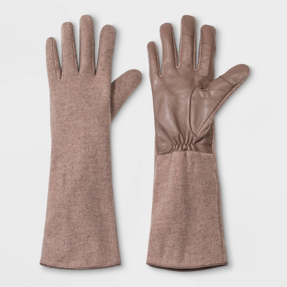 Vintage Style Gloves- Long, Wrist, Evening, Day, Leather, Lace Womens WoolLeather Combo Gloves - A New Day Tan One Size $17.00 AT vintagedancer.com