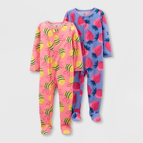 Toddler Girls' 2pk Footed Tie-Dye Strawberry Bee Pajama Jumpsuit - Just One You® made by carter's Pink/Yellow - image 1 of 1