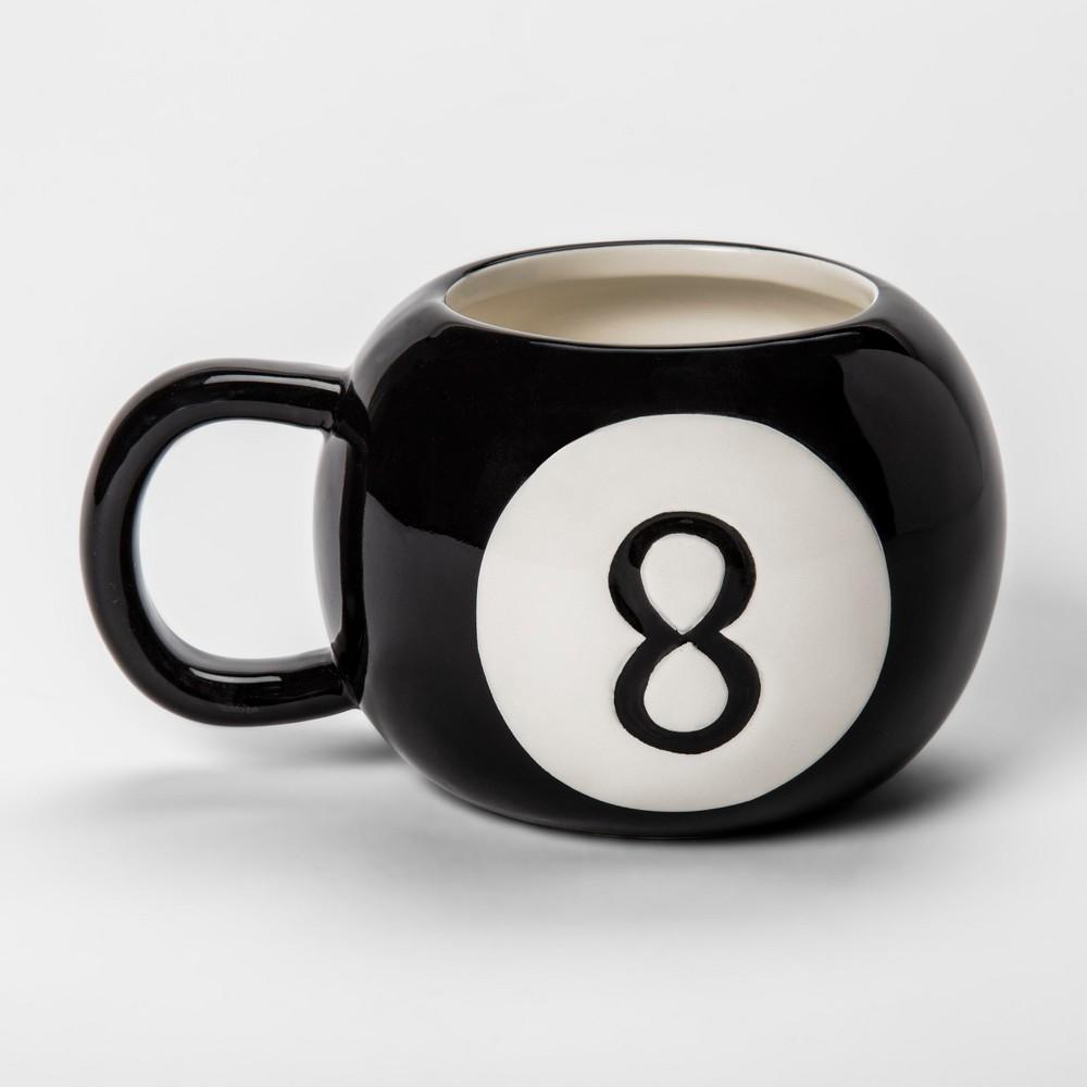 Image of 10oz Earthenware Magic 8 Ball Mug Black/White - Room Essentials