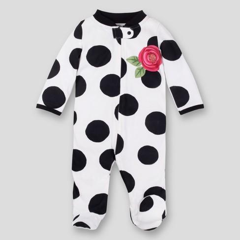Lamaze Baby Girls' Organic Cotton Rose Sleep 'N Play - Black/white 6M - image 1 of 2