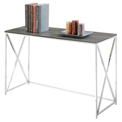 Genial Belaire Console Table   Chrome   Weathered Gray   Convenience Concepts :  Target