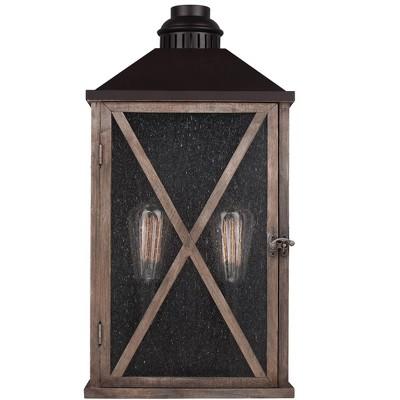 "Feiss Lumiere 2-Light 19"" Dark Weathered Oak / Oil Rubbed Bronze Large Outdoor Lantern OL17004DWO/ORB"