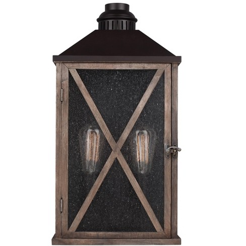 """Feiss Lumiere 2-Light 19"""" Dark Weathered Oak / Oil Rubbed Bronze Large Outdoor Lantern OL17004DWO/ORB - image 1 of 1"""