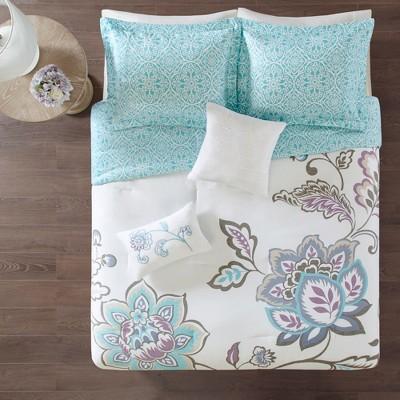 5pc King/Cal King Eveleen Reversible Print Comforter Set Aqua
