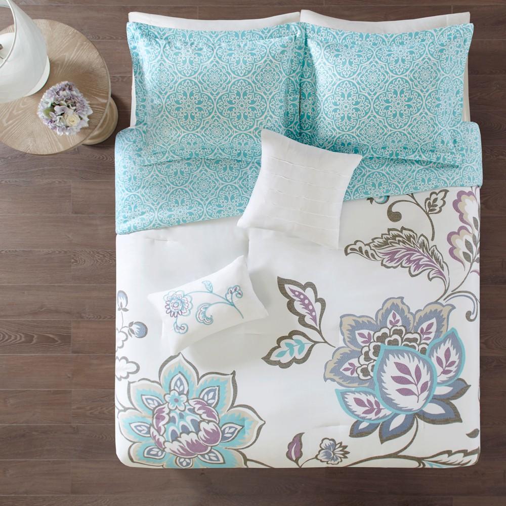 5pc King/Cal King Eveleen Reversible Print Comforter Set Aqua (Blue)