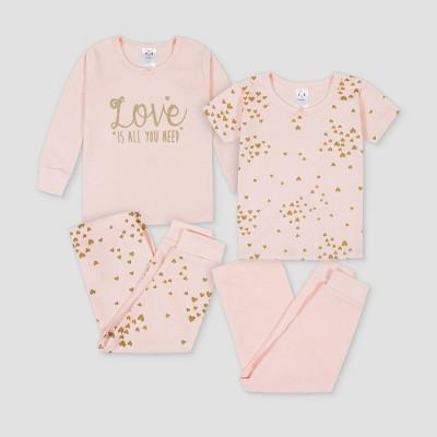 Gerber Toddler Girls' 4pc Love Pajama Set - Pink