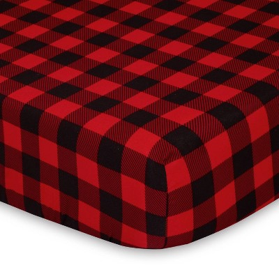 The Peanutshell Playard Sheets - Red Buffalo Plaid/Gray Plaid 2pk