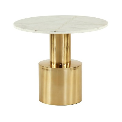 Coffee Table, Round Marble Top, White and Gold - Olivia & May