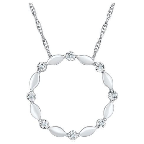 663c7dd78b20e Diamond Accent Round White Diamond Circle Pendant in Sterling Silver  (I-J,I2-I3)