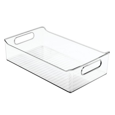 mDesign Wide Plastic Kitchen Pantry Cabinet Food Storage Bin, 4 Pack - Clear