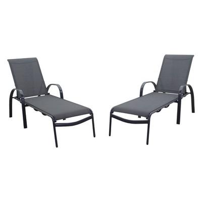 Santa Fe 2pc Aluminum Chaise Lounge Chairs - Silver - Courtyard Casual