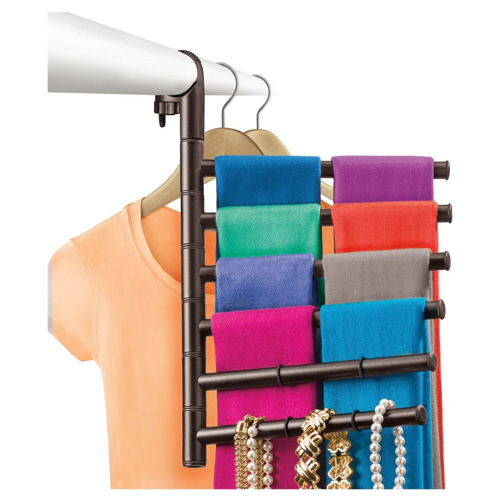 Image of Lynk Hanging Pivoting Scarf Rack and Accessory Holder - Closet Hanger Organizer Rack - Bronze