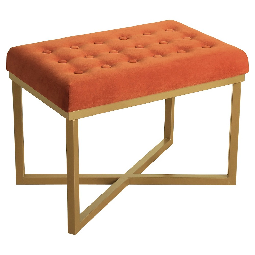 Rectangle Ottoman with Tuscany Velvet Tufted Cushion and Gold Metal X Base - HomePop was $94.99 now $71.24 (25.0% off)