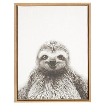 Sloth Framed Canvas Art Natural (24 x18 )- Uniek