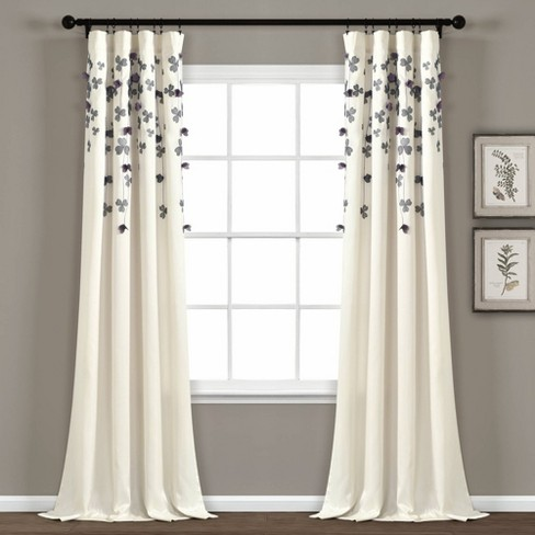 Flower Drops Light Filtering Window Curtain Panel - Lush Décor - image 1 of 4
