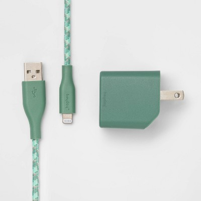 heyday™ 2-Port Wall Charger 15W USB-C & 5W USB-A (with 6' Lightning to USB-A Cable)