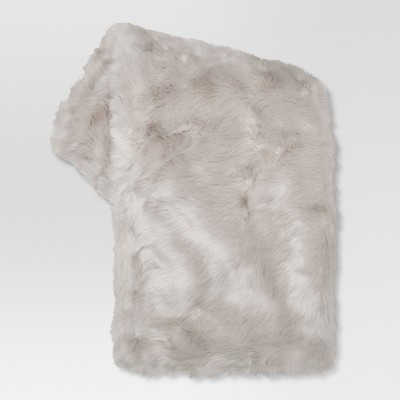 Light Gray Faux Fur Throw Blanket (50 x60 )- Threshold™