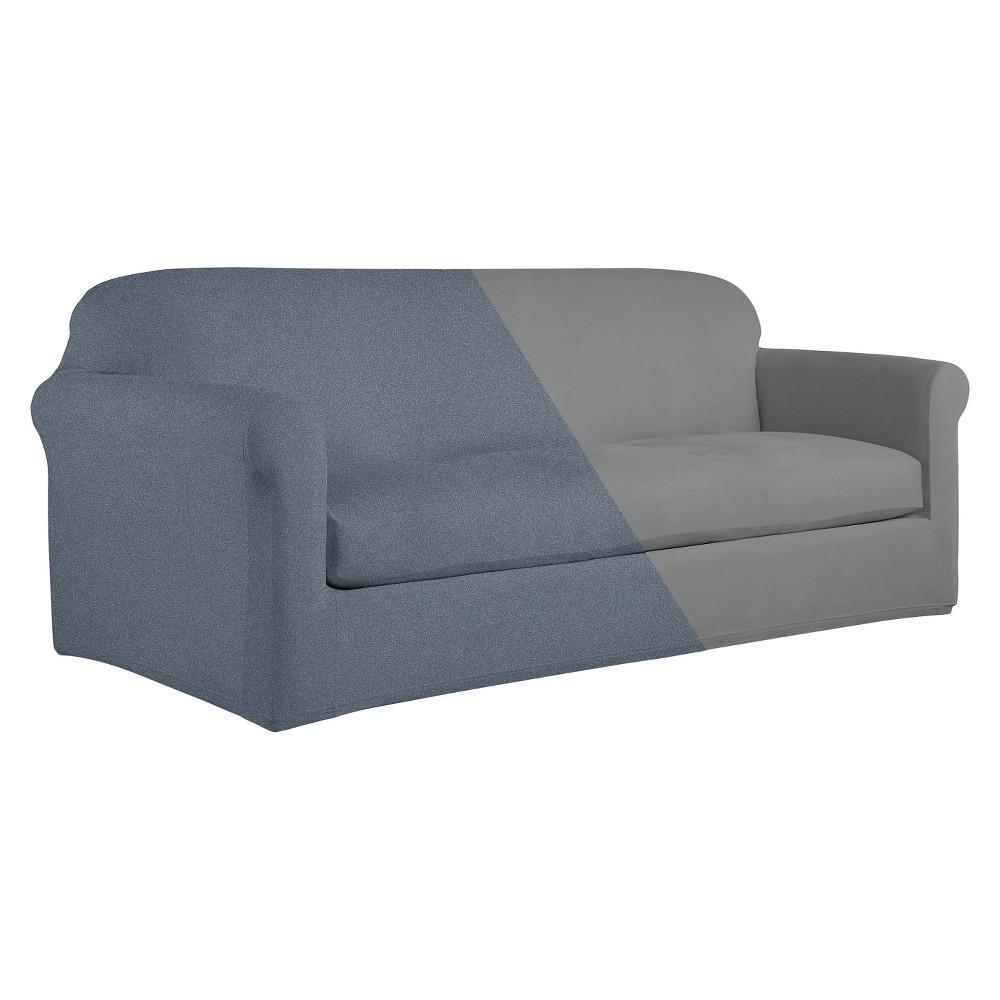 Steel (Silver) Reversible Stretch Fit Sofa Slipcover - Serta