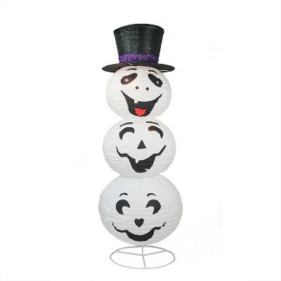 "Northlight 44"" Halloween Prelit Happy Ghost with Top Hat Yard Art Decoration - White/Black"