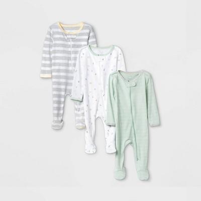 Baby Boys' 3pk Zip-Up Sleep N' Play - Cloud Island™ Mint 0-3M