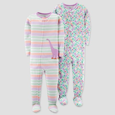 Baby Girls' 2pk Cotton Dino Stripe Footed Pajama Set - Just One You® made by carter's Purple 18M