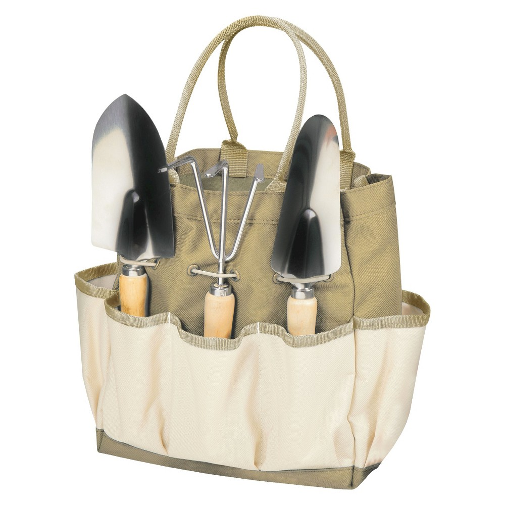 3 Pc Garden Tote Large-Tan /Cream - Picnic Time, Green