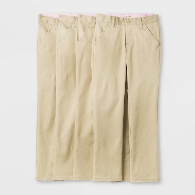 Girls' 4pk Flat Front Stretch Uniform Straight Fit Pants - Cat & Jack™ Light Beige