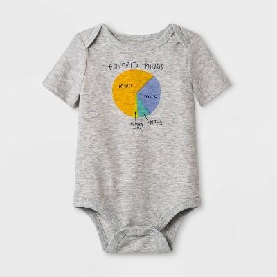 Baby Boys' Short Sleeve Pie Chart Lap Shoulder Bodysuit - Cat & Jack™ Gray 3-6M