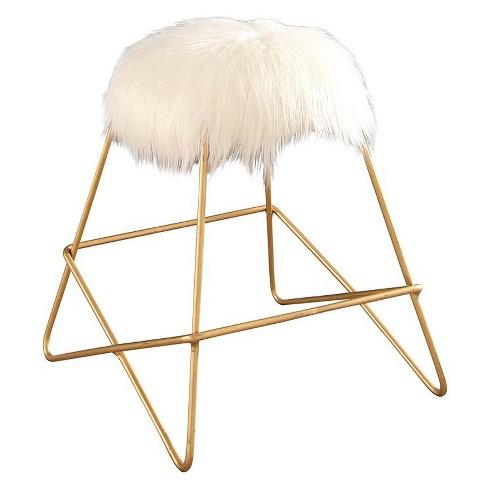 Enjoyable Zafir Faux Fur Vanity Stool White Abbyson Living Evergreenethics Interior Chair Design Evergreenethicsorg