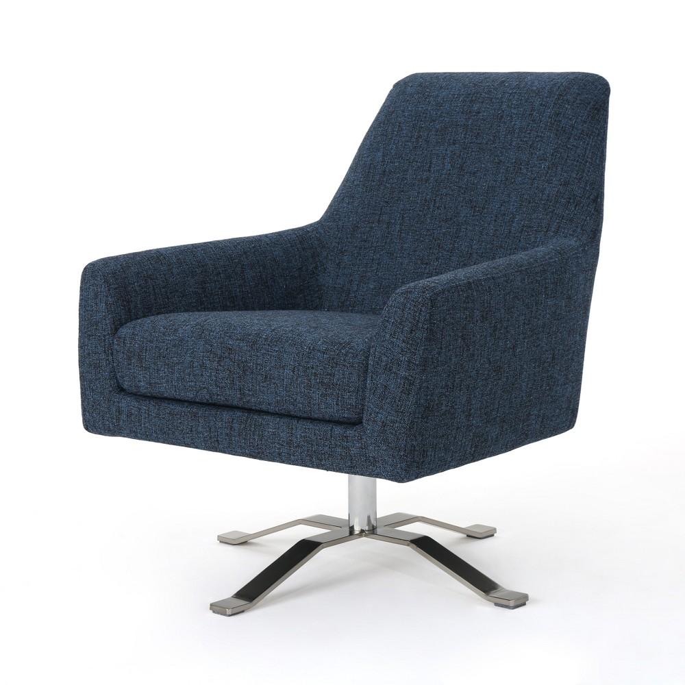 Ailis Modern Swivel Club Chair Indigo (Blue) - Christopher Knight Home