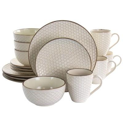 16pc Stoneware Honey Dinnerware Set White - Elama