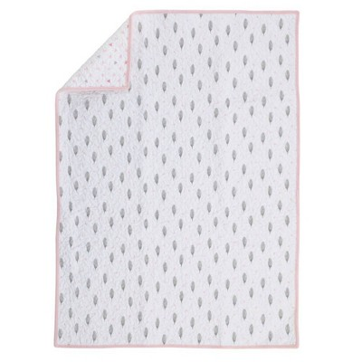 NoJo Aztec Mix & Match 100% Cotton Feather Print Nursery Crib Quilt - Pink/White/Gray
