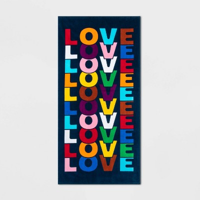 Love Rainbow Stripe Beach Towel XL - Pride