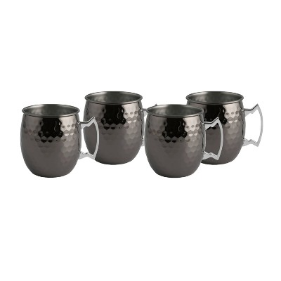 20oz 4pk Stainless Steel Moscow Mule Mugs Black - Cambridge Silversmiths