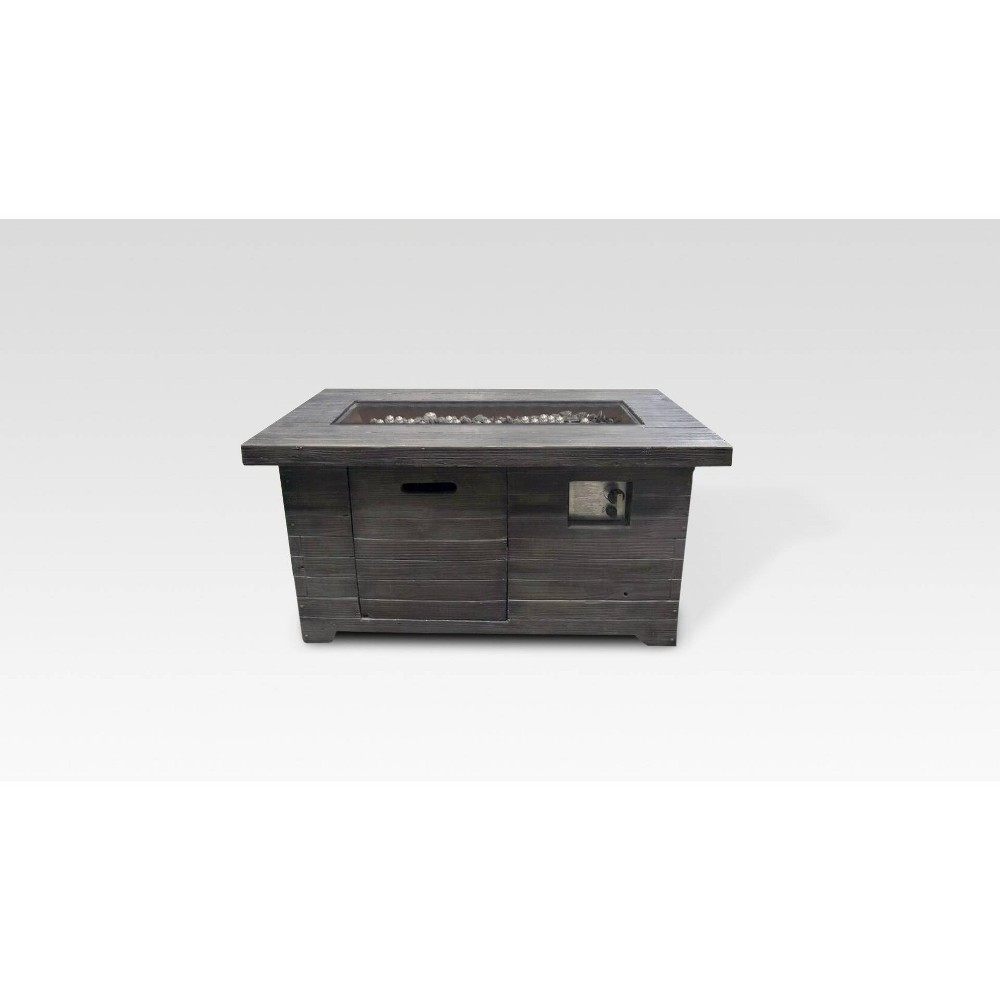 Windsor Weathered Wood Rectangle Gas Fire Pit Brown - Summerland Home