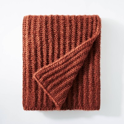 "50""x60"" Eyelash Chunky Knit Throw Rust - Threshold™ designed with Studio McGee"