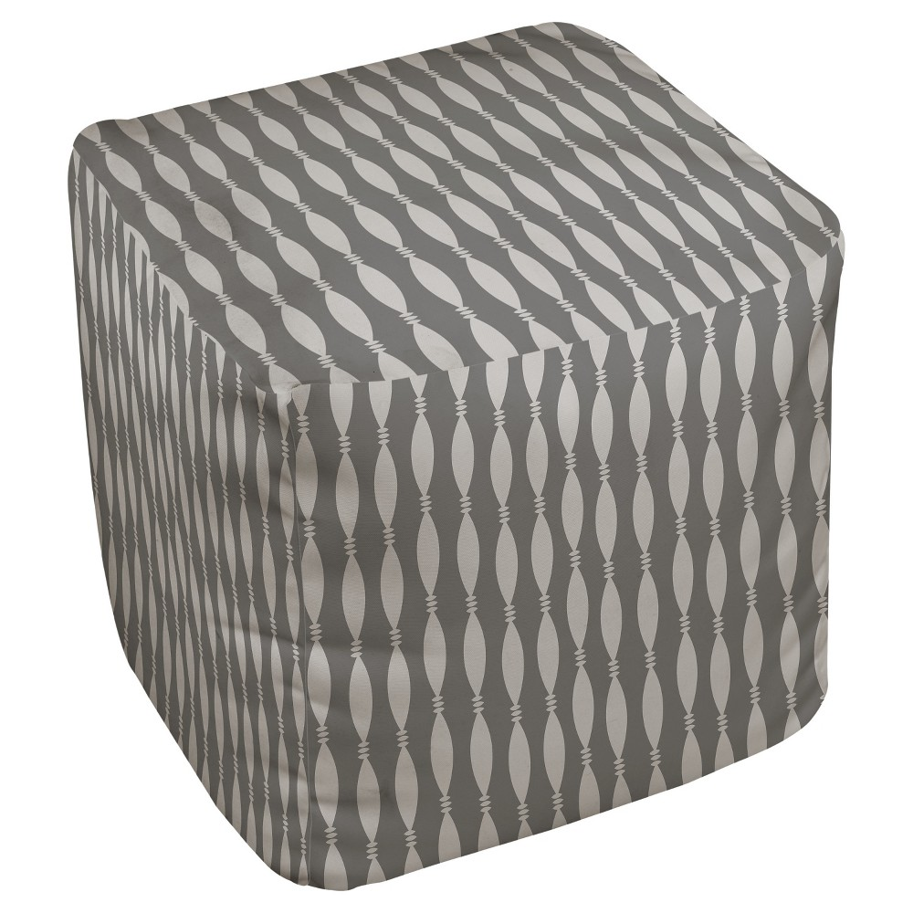 Gray String And Bead Print Pouf (18X18