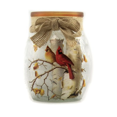 """Stony Creek 4.0"""" Fall Cardinals Sm Pre-Lit Jar Autumn  -  Novelty Sculpture Lights"""