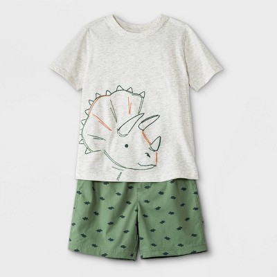 Toddler Boys' 2pc Dino Short Sleeve T-Shirt and Pull-On Shorts Set - Just One You® made by carter's Cream/Green